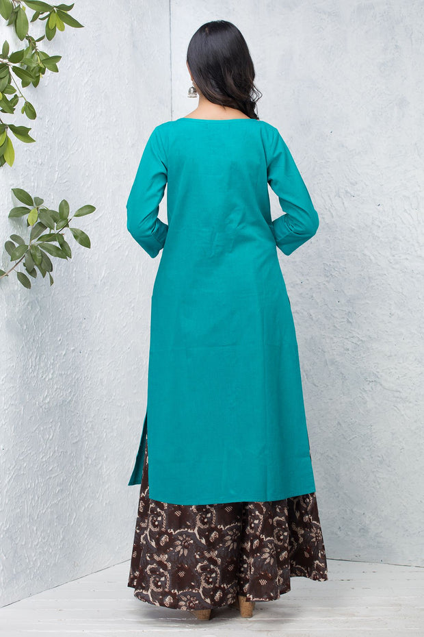 Solid Centre Front Button & Pleat Detailed Kurta – Turquoise - Maybell Womens Fashion