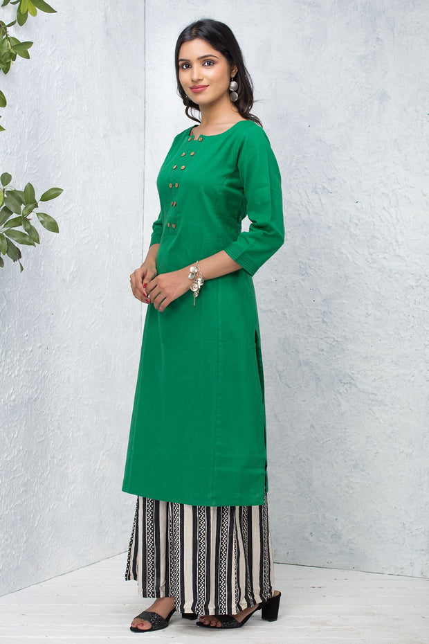 Solid Wooden Button Pleat Detailed Kurta – Green - Maybell Womens Fashion