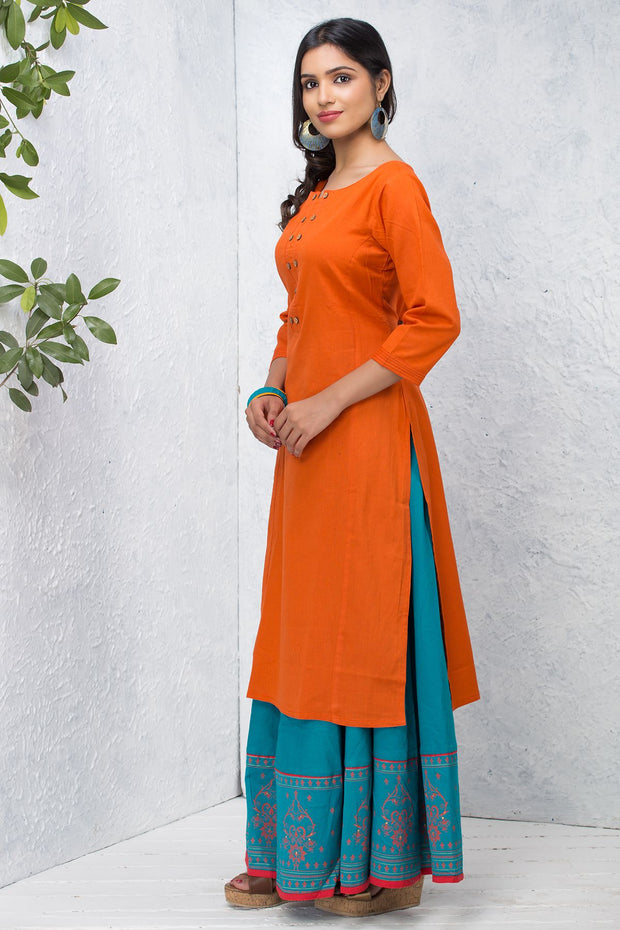 Solid Wooden Button Pleat Detailed Kurta – Orange - Maybell Womens Fashion