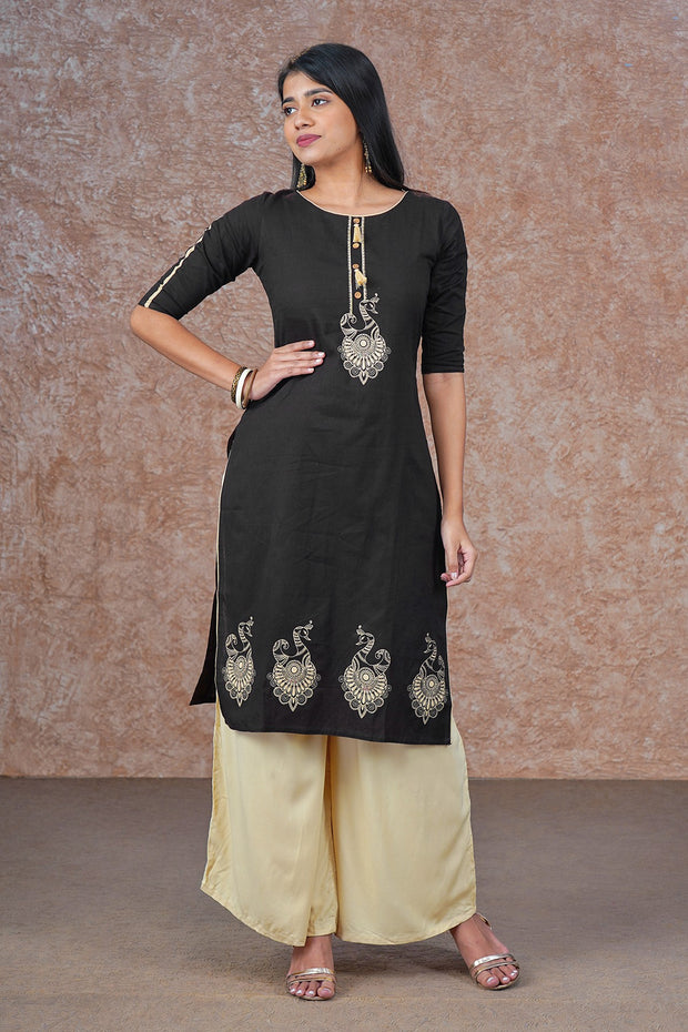 Ethnic Bird Motif Printed Kurta - Black