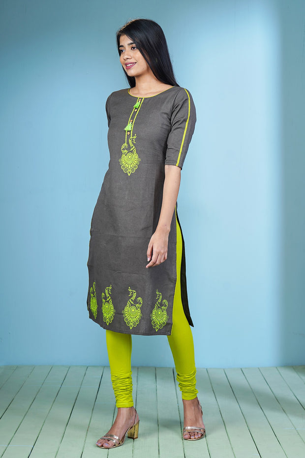 Ethnic Bird Motif Printed Kurta - Grey