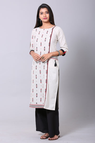 Geometric print Straight fit Kurta - Off white & Red - Maybell Womens Fashion