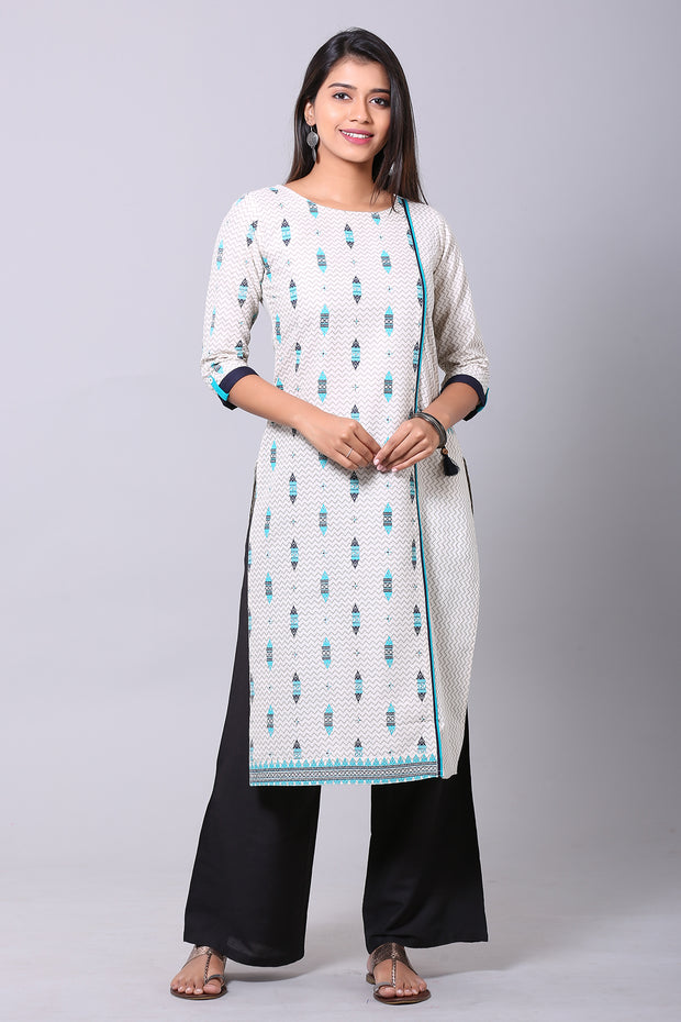 Geometric print Straight Kurta - Off white & Blue - Maybell Womens Fashion