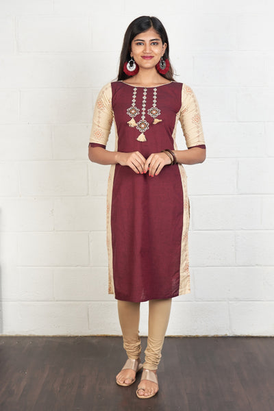 Cross Stitch Embroidered & Paneled Kurta - Maroon & Beige