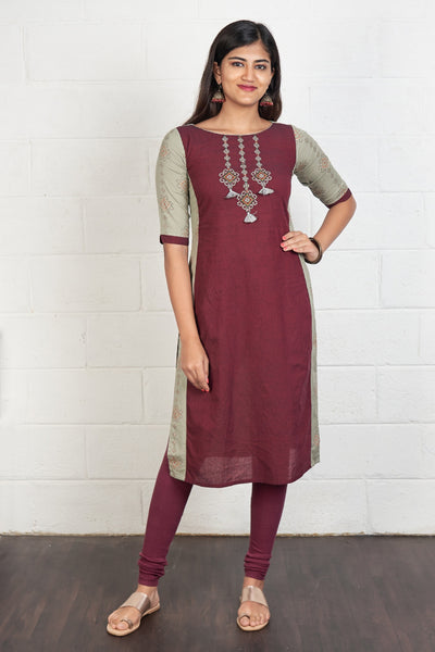Cross Stitch Embroidered & Paneled Kurta - Maroon & Grey