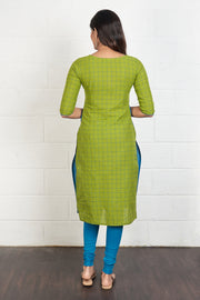 Colourblock Checked Mix and Match Kurta – Blue & Green