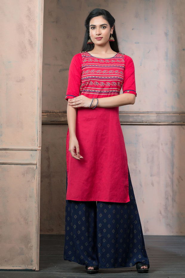 Abstract Elephant Printed Kurta - Red