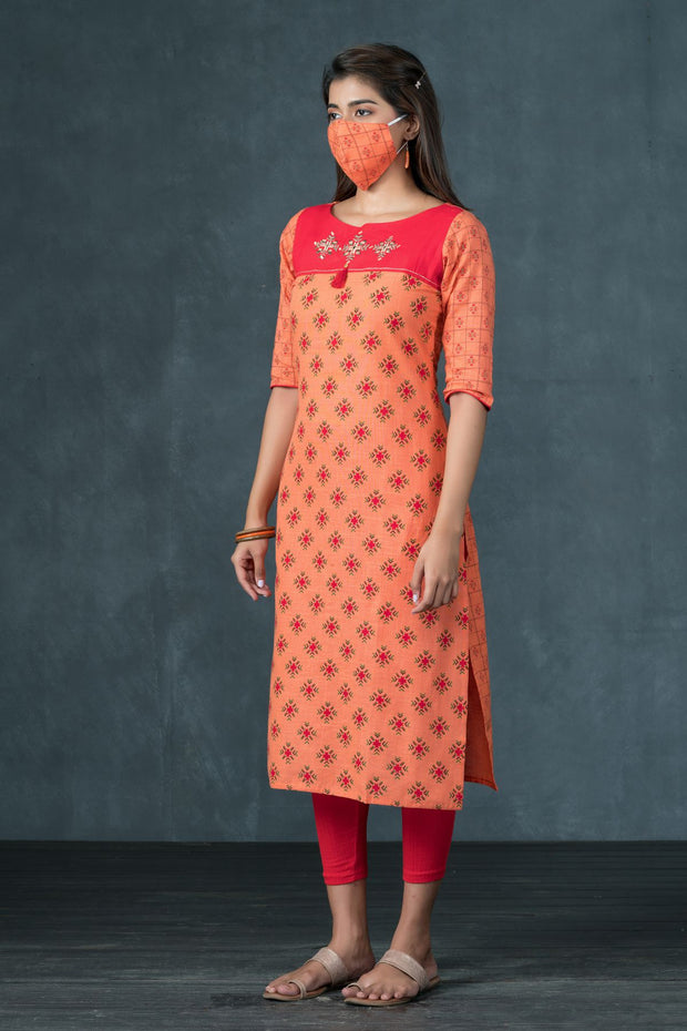 All Over Geometric Printed & Embroidered Kurta - Peach