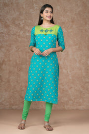 All Over Geometric Printed & Embroidered Kurta - Blue