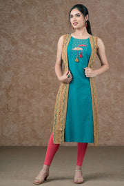 Umbrella Embroidered Side Overlay Kurta - Blue