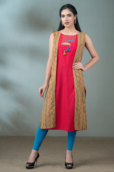 Umbrella Embroidered Side Overlay Kurta - Red