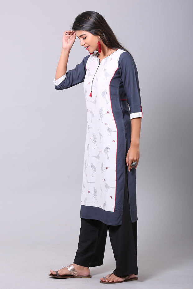 Straight fit Panel printed Kurta  - Grey & White - Maybell Womens Fashion
