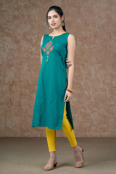 Contemporary Ethnic Bird Embroidered Kurta - Sea Green