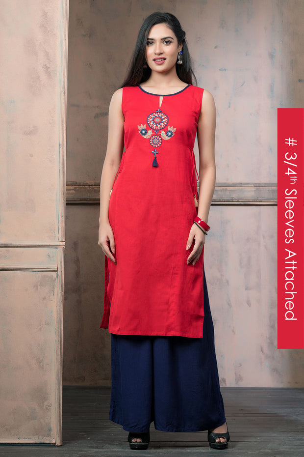 Contemporary Ethnic Bird Embroidered Kurta - Red