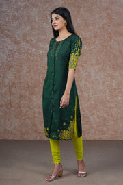 Cluster Floral Placement Printed Kurta – Dark Green