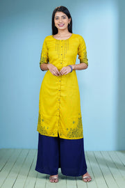 Cluster Floral Placement Printed Kurta – Yellow