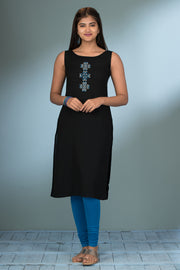 Geometric Embroidered Kurta & Printed Jacket Set - Black