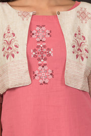 Geometric Embroidered Kurta & Printed Jacket Set - Pink