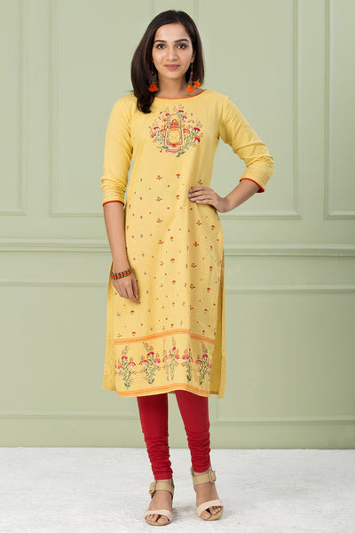 Yellow Straight Kurta With Over Print - Yellow - Maybell Womens Fashion