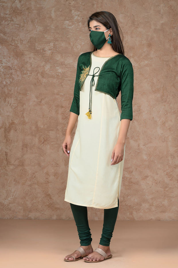 Contemporary Sun-Moon Embroidered Jacket Style Kurta - Green