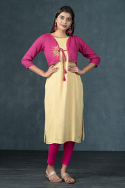 Contemporary Sun-Moon Embroidered Jacket Style Kurta - Pink