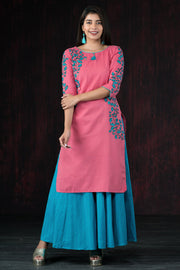 Placement Ginkgo Leaf Printed Kurta - Pink