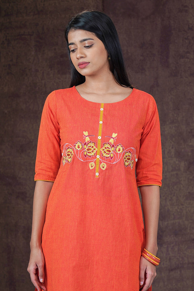 Contemporary Lotus Embroidered Kurta - Orange