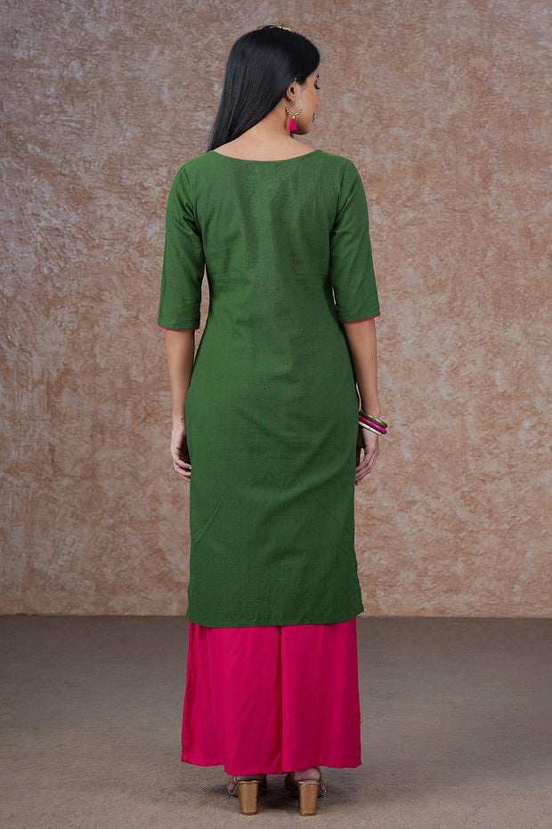 Contemporary Lotus Embroidered Kurta - Green