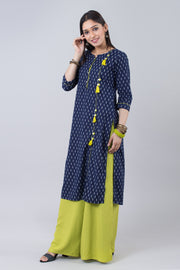 Blue & Lime Green Printed Straight Cut Kurta - Blue - Maybell Womens Fashion