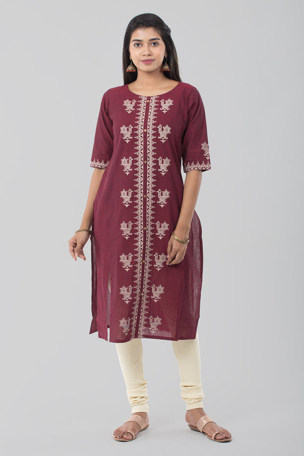 Abstract printed kurta - Maroon - Maybell Womens Fashion