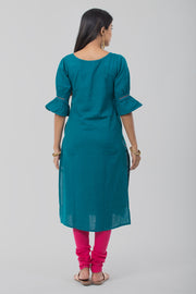 Green Boat Neck Linen Kurta - Teal - Maybell Womens Fashion