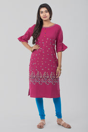 Pink Boat Neck Linen Kurta - Pink - Maybell Womens Fashion