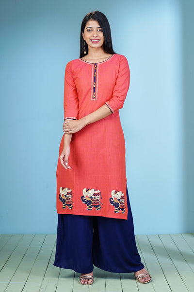 Ethnic Elephant Placement Printed Kurta - Pink