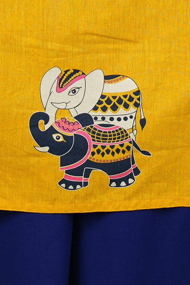 Ethnic Elephant Placement Printed Kurta - Yellow