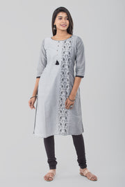 Abstract printed kurti - Grey - Maybell Womens Fashion