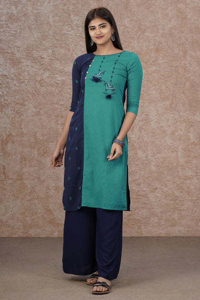 Paneled & Horse Embroidered Kurta - Blue & Sea Green