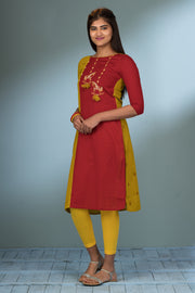 Paneled & Horse Embroidered Kurta - Red & Yellow