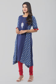Abstract printed kurti - Navy blue - Maybell Womens Fashion