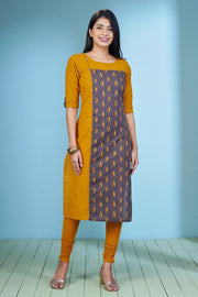 Ikkat Printed & Paneled Kurta - Brown & Mustard