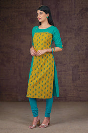 Ikkat Printed & Paneled Kurta - Lime & Blue