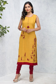 Placement Deer Printed Kurta - Yellow - Maybell Womens Fashion