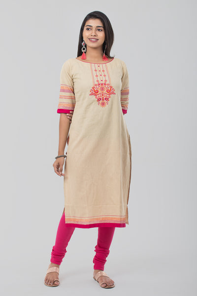 Beige Round Neck Piping Linen Kurta - Beige - Maybell Womens Fashion