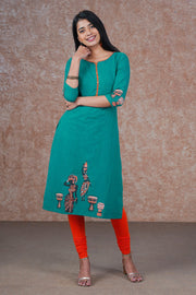 Dancing Music Lady Placement Printed Kurta - Green