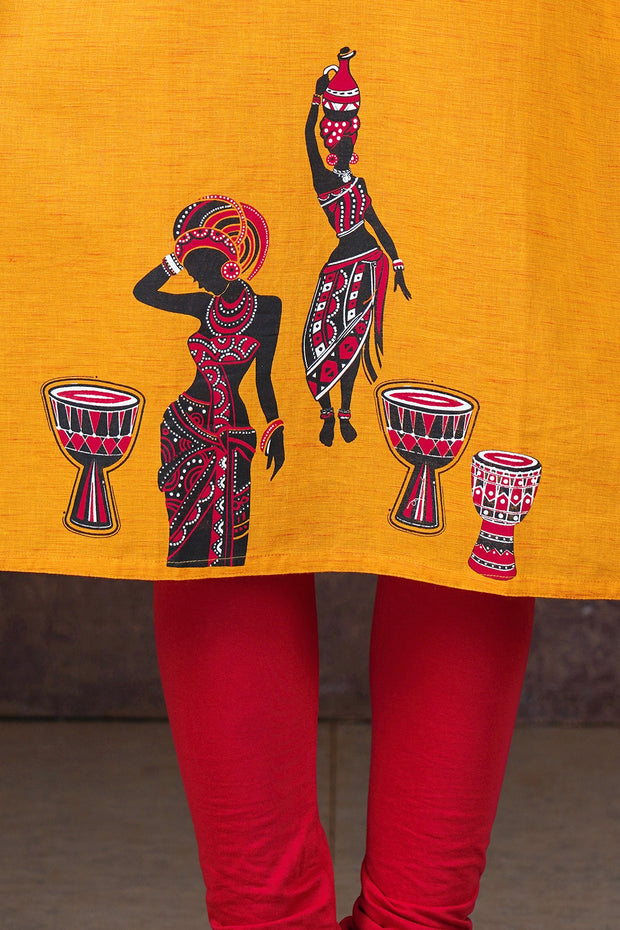 Dancing Music Lady Placement Printed Kurta - Mustard