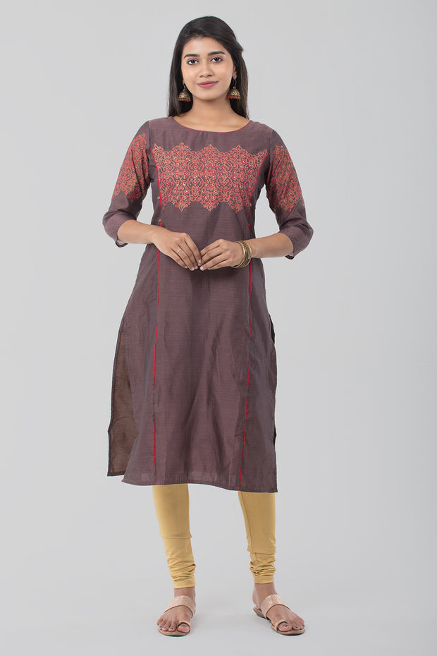 Brown Round Neck Chanderi Kurta - Brown - Maybell Womens Fashion