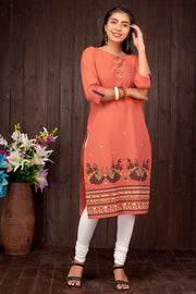Dhandiya Dance Printed Kurti – Orange - Maybell Womens Fashion