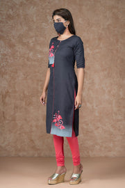 Abstract Flamingo Printed Kurta - Grey
