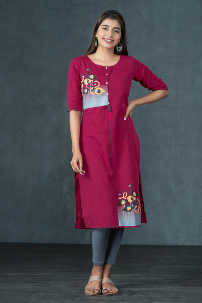 Abstract Flamingo Printed Kurta - Magenta