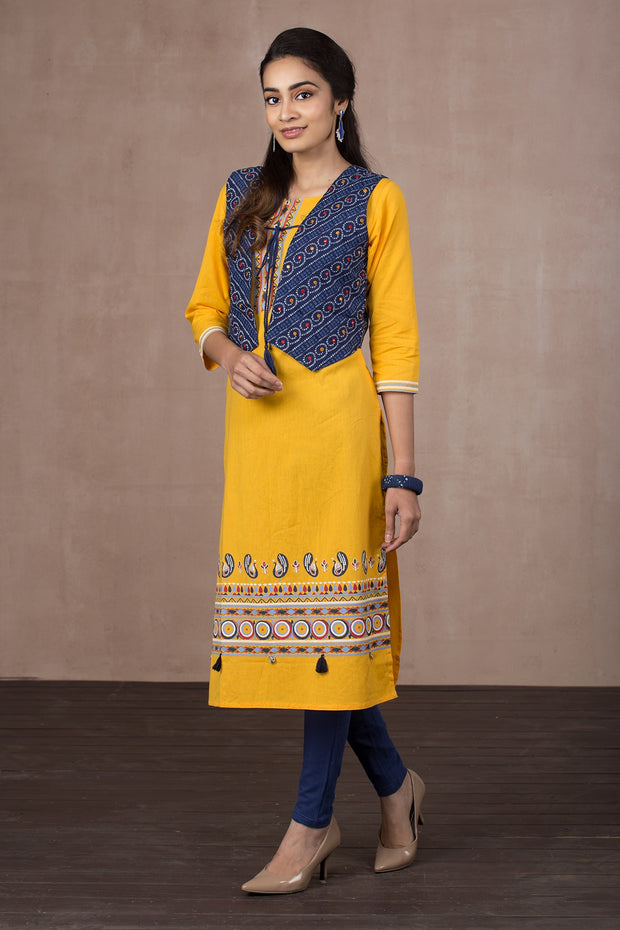 Abstract printed kurti - Yellow - Maybell Womens Fashion