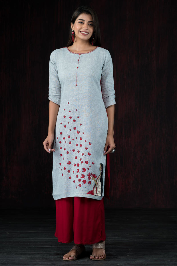 Essence Of Devotion Placement Printed Kurta - Grey & Maroon